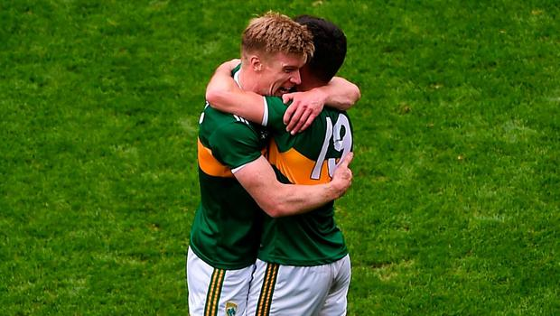 Tommy Walsh and Jack Sherwood embrace after beating Tyrone. Photo: Daire Brennan/Sportsfile