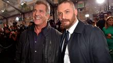 "HOLLYWOOD, CA - MAY 07:  Actors Mel Gibson (L) and Tom Hardy attend the premiere of Warner Bros. Pictures' ""Mad Max: Fury Road"" at TCL Chinese Theatre on May 7, 2015 in Hollywood, California.  (Photo by Kevin Winter/Getty Images)"