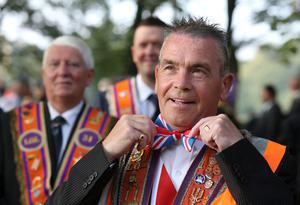 """An Orangemen march through the streets of Edinburgh during a """"Proud to be British"""" rally in Edinburgh in support of the Union. Andrew Milligan/PA Wire"""