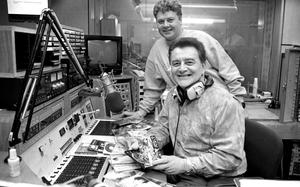 Larry Gogan and his son Gerry in the studio in 1993. Photo: Kevin Clancy