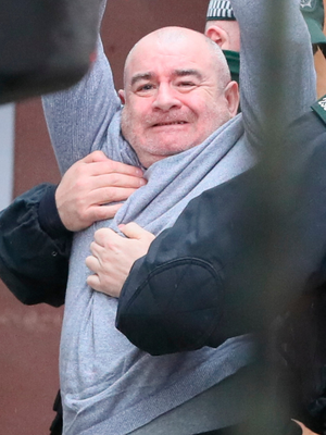 Paul McIntyre arrives at Londonderry Magistrates' Court where he is appearing charged with the murder of journalist Lyra McKee in April 2019. PA Photo. Issue date: Thursday February 13, 2020. Ms McKee died in April 2019 when she was hit by a bullet fired towards officers by a masked gunman whilst she stood near a police vehicle. PA Photo. Picture date: Thursday February 13, 2020. See PA story ULSTER McKee. Photo credit should read: Brian Lawless/PA Wire