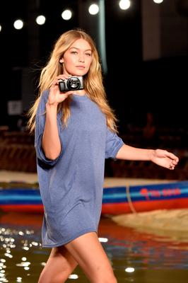 Model Gigi Hadid rehearses on the runway at Tommy Hilfiger Women's Spring 2016 during New York Fashion Week: The Shows  at Pier 36 on September 14, 2015 in New York City.