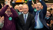 Sean Haughey of Fianna Fail celebrates at RDS Count centre as he won the second seat in Dublin Bay North constituency. Picture by Fergal Phillips.