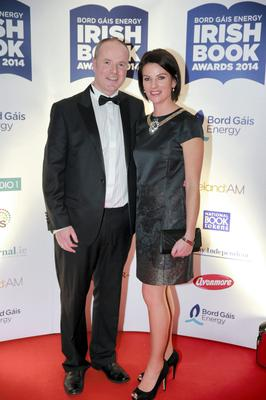 Dave Kirwan and wife Catriona at the Bord Gais Energy Irish Book Awards at the Double Tree by Hilton Hotel in Dublin. Picture: Arthur Carron