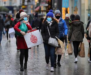 Shoppers brave the wet weather on Grafton Street.
