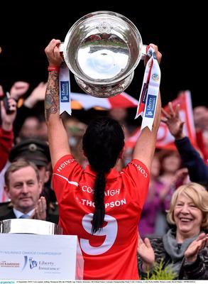13 September 2015; Cork captain Ashling Thompson lifts the O'Duffy cup. Liberty Insurance All Ireland Senior Camogie Championship Final, Cork v Galway. Croke Park, Dublin. Picture credit: David Maher / SPORTSFILE