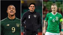 (l-r) Adam Idah and Keith Andrews are set to gain from the arrival of Stephen Kenny as Ireland manager, but it could spell the end of the road for veteran midfielder Glenn Whelan