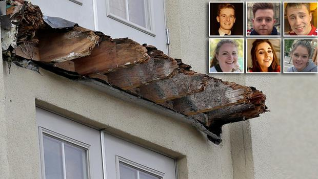 The remnants of the Library Gardens apartment building balcony that collapsed. Inset: The six students who lost their lives in the tragic accident, top left to bottom right: Lorcan Miller, Eoghan Culligan, Nick Schuster, Ashley Donohoe, Eimear Walsh and Olivia Burke