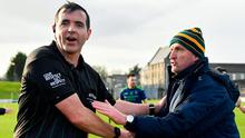 Time gentlemen please: Referee Sean Hurson speaks with Meath boss Andy McEntee, who voiced concerns with timekeeping after Sunday's game. Photo: Seb Daly/Sportsfile