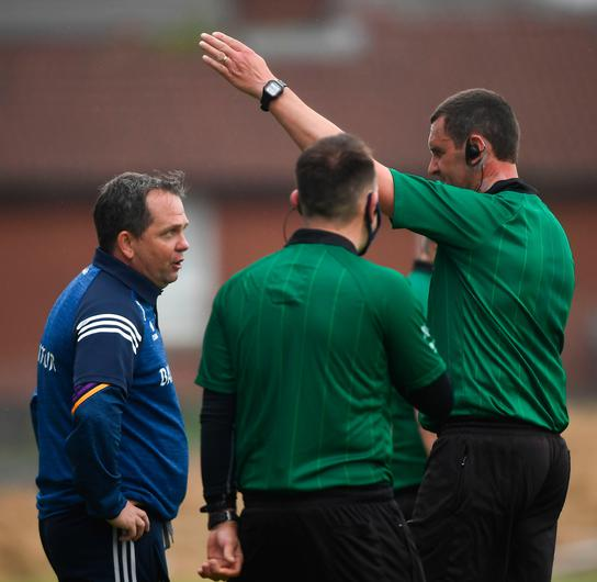Wexford manager Davy Fitzgerald is sent off by referee Patrick Murphy during the Allianz Hurling League Division 1 Group B draw with Antrim at Corrigan Park in Belfast. Photo: David Fitzgerald/Sportsfile