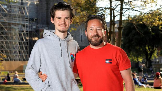 David Tyrell pictured with his son Sean at St Patrick's Park in Dublin. Photo: Frank McGrath