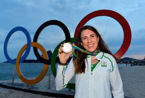 Annalise Murphy celebrates with her silver medal after the Women's Laser Radial Medal race during the 2016 Rio Summer Olympic Games in Rio de Janeiro. Photo: Brendan Moran/Sportsfile