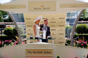ASCOT, ENGLAND - JUNE 18:  Ronan Keating and Storm Uechtritz present the Norfolk Stake on day 3 during Royal Ascot 2015 at Ascot racecourse on June 18, 2015 in Ascot, England.  (Photo by Tristan Fewings/Getty Images for Ascot Racecourse)