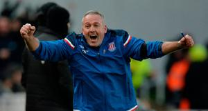 Stoke City manager Paul Lambert celebrates their second goal