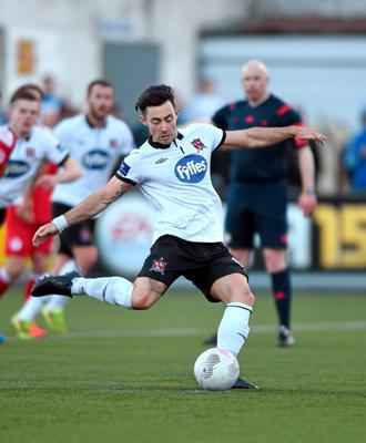 Dundalk's Richie Towell scores his side's fourth goal from the penalty spot