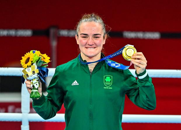 Kellie Harrington celebrates with her gold medal after defeating Beatriz Ferreira of Brazil in their women's lightweight final during the final day of the 2020 Tokyo Summer Olympic Games in Tokyo, Japan. Photo: Brendan Moran/Sportsfile