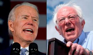 Showdown: Democratic presidential hopefuls Joe Biden (left) and Bernie Sanders (right). Photo: Getty Images