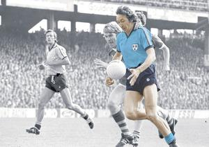 Dublin's Anton O'Toole is chased by Kerry's Jimmy Deenihan during the 1979 All-Ireland SFC final at Croke Park