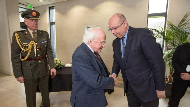 President Michael D Higgins and French Ambassador to Ireland Jean Pierre Thebault who signed a Book of Condolence for the victims of the Westminster attacks in London on Wednesday.  Pic:Mark Condren 24.3.2017