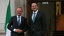 President of the European Council, Donald Tusk (left) with Leo Varadkar (Laura Hutton/PA)