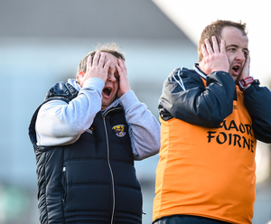 Wexford manager Davy Fitzgerald (L) and selector Seoirse Bulfin react to a late missed point. Photo: David Maher/Sportsfile
