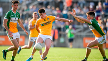 Patrick McAleer of Antrim in action against James Lalor, right, and Conor McNamee of Offaly during the GAA Football All-Ireland Senior Championship Round 1 match between Offaly and Antrim at Bord Na Mona O'Connor Park in Tullamore, Offaly. Photo: Sportsfile