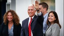 Visit: US Vice President Mike Pence and his sister Anne and wife Karen are greeted by locals in Doonbeg, Co Clare, earlier this month. Photo: Steve Humphreys