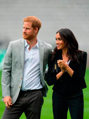 A Duke and Duchess of Sussex during a visit to Croke Park, on day two of their visit to Dublin, Ireland
