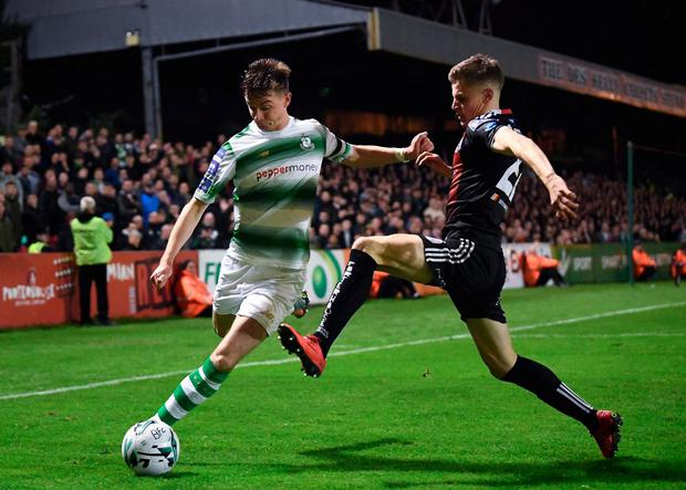 Ronan Finn of Shamrock Rovers in action against Paddy Kirk of Bohemians. Photo: Stephen McCarthy/Sportsfile