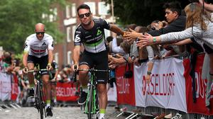 Mark Cavendish of Great Britain riding for Team Dimension Data rides during the team presentation for the 2017 Le Tour de France on June 29, 2017 in Duesseldorf, Germany.  (Photo by Chris Graythen/Getty Images)