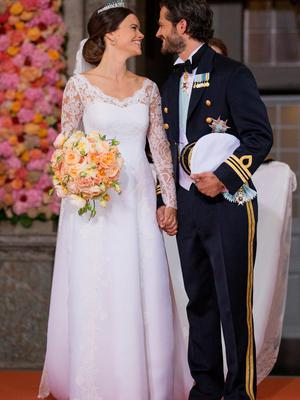 STOCKHOLM, SWEDEN - JUNE 13:  Prince Carl Philip of Sweden is seen with his new wife Princess Sofia of Sweden after their marriage ceremony at The Royal Palace on June 13, 2015 in Stockholm, Sweden.  (Photo by Andreas Rentz/Getty Images)