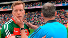 Mayo's Donal Vaughan with Roscommon boss Kevin McStay