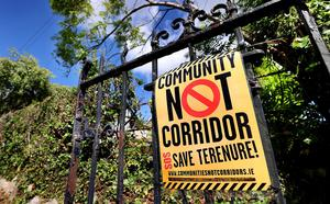 A sign on one of the residential gates on the Rathfarnham Road. Photo: Steve Humphreys