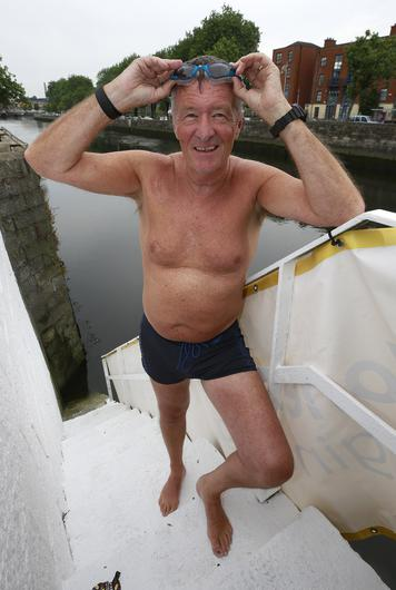 Declan Culliton, pictured before competing in the Liffey swim in Dublin Picture credit; Damien Eagers / INM