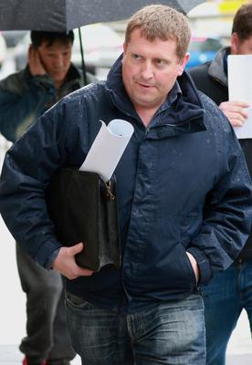 Paul O'Shea, a farmer, of Davidstown, Castletown, Co. Kildare, at the High Court, where a case involving a bank appointed receiver continues. PIC: COURTPIX