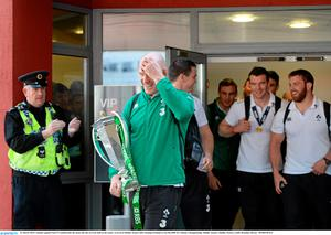 22 March 2015; Ireland captain Paul O'Connell leads the team into the arrivals hall on the team's arrival at Dublin Airport after beating Scotland to win the RBS Six Nations Championship. Dublin Airport, Dublin. Picture credit: Brendan Moran / SPORTSFILE