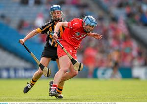 14 September 2014; Rena Buckley, Cork, in action against Leann Fennelly, Kilkenny. Liberty Insurance All Ireland Senior Camogie Championship Final, Kilkenny v Cork, Croke Park, Dublin. Picture credit: Paul Mohan / SPORTSFILE