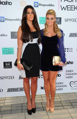 Billi Mucklow and Cara Kilbey attending Essex Fashion Week, held in Rainham, Essex.