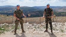Paul Murphy with Kilkenny teammate and fellow soldier Richie Reid in the Lebanon.