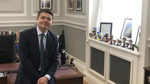 Being 'careful': Finance Minister Paschal Donohoe has changed his work set-up to adapt to the lockdown.