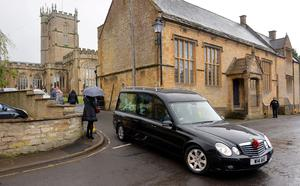 The hearse arriving for the funeral of Lynda Bellingham at St Bartholomew's Church in Crewkerne, Somerset Ben Birchall/PA Wire