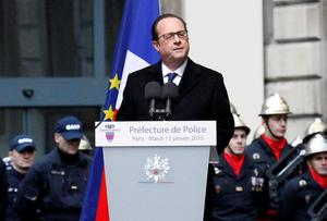 French President Francois Hollande delivers his speech during a ceremony to pay tribute to the three police officers killed in the attacks, in Paris, France. Police officers Ahmed Merabet, 40, Franck Brinsolaro, 49, were killed during the attacks at Charlie Hebdo, and Clarissa Jean-Philippe killed in Montrouge last week (AP Photo/Francois Mori)