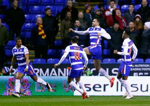 "Football - Reading v Bradford City - FA Cup Quarter Final Replay - The Madejski Stadium - 16/3/15 Reading's Hal Robson Kanu celebrates scoring their first goal Reuters / Eddie Keogh Livepic EDITORIAL USE ONLY. No use with unauthorized audio, video, data, fixture lists, club/league logos or ""live"" services. Online in-match use limited to 45 images, no video emulation. No use in betting, games or single club/league/player publications.  Please contact your account representative for further details."