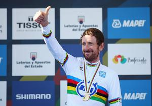 Bradley Wiggins stands on the podium after winning the Elite Men's Individual Time Trial on day four of the UCI Road World Championships