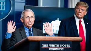 #SAVEFAUCI: Director of the US National Institute of Allergy and Infectious Diseases Dr Anthony Fauci with President Donald Trump during a briefing on the coronavirus pandemic. Photo: Jabin Botsford/The Washington Post via Getty Images