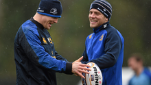 Brian O'Driscoll and Ian Madigan during a Leinster squad training in 2014