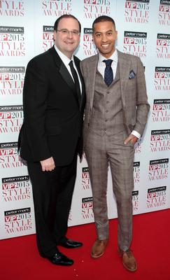 Chris Doyle and Sean Munsaje on the Red Carpet at The Peter Mark VIP Style Awards 2015 at The Marker Hotel,Dublin. Pictures Brian McEvoy