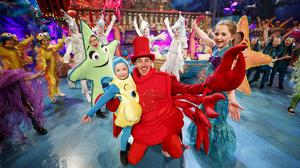 Ryan Tubridy dressed as Sebastian from the The Little Mermaid for the opening performance of the RTÉ The Late Late Toy Show 2017 featuring children from Spotlight Stage School, Spraoi, and Nasty Kidz. Picture Andres Poveda