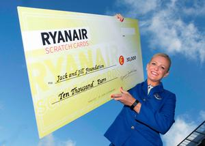 Ryanair cabin crew member Lianda McKerrell with the cheque presented by Ryanair to the Jack and Jill Foundation Photo: Peter Houlihan