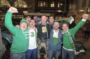 (centre) Barry Mitchell from Lusk, Dublin with friends from Lusk in Glasgow for tonights European qualifier with Scotland. Pic:Mark Condren 14.11.2014
